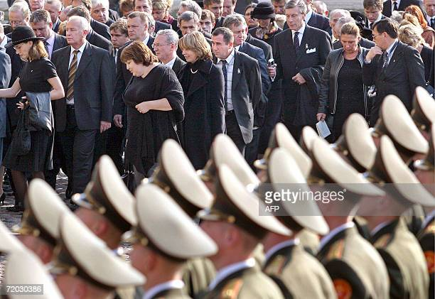 Members of Romanov family and officials attend the funeral ceremony of Russian Empress Maria Fyodorovna at the Peter and Paul fortress in...