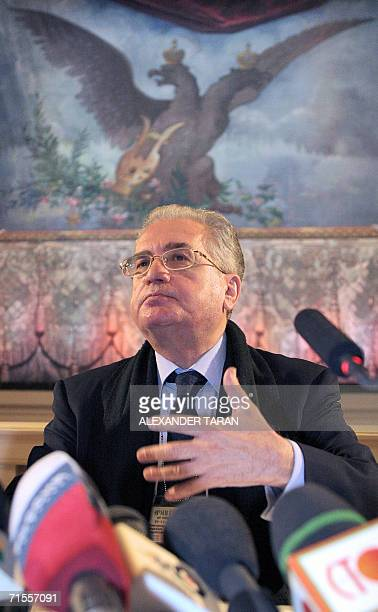 The Director of the Hermitage museum Mikhail Piotrovsky gestures during a prees confrence in St Petersburg 01 August 2006 More than 200 items of...