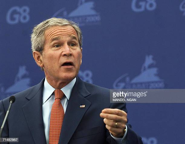 St Petersburg, RUSSIAN FEDERATION: US President George W. Bush speaks during a joint press conference with Russian President Vladimir Putin at the G8...