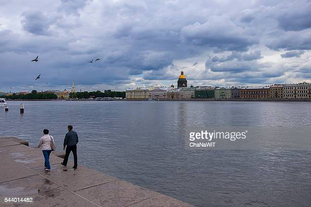 st. petersburg, the neva river - neva river stock photos and pictures