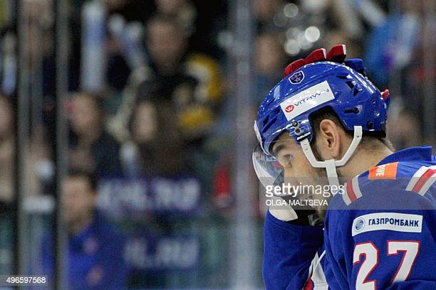 SKA St Petersburgs defenseman Slava Voynov reacts during the regular Russian open Kontinental Hockey League's match against Dynamo Moscow in St...
