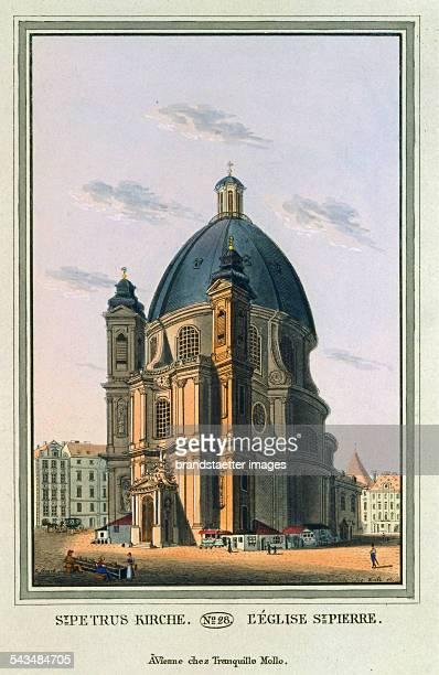 St Petrus Kirche 1825 Colored copper engraving Journal No 28 from >Wiens vorzüglichste Gebäude und Monumente Les principaux batiments et monuments de...