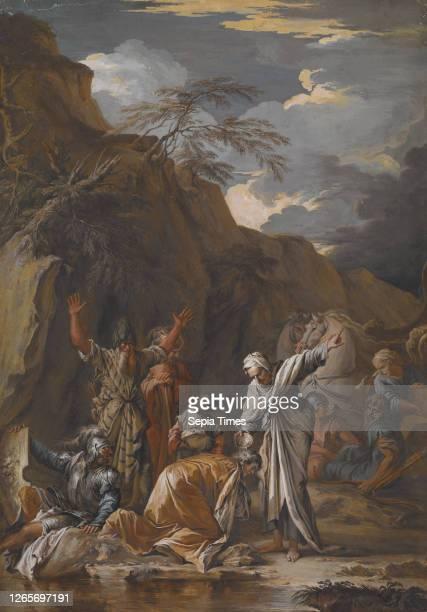 St. Philip Baptising the Eunuch, Joseph Goupy , After Salvator Rosa gouache on paper, 18-1/8 x 12-5/8 in..