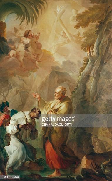 St Philip baptizing the eunuch of Queen Candace, by Pietro Bardellino , Church of Santa Maria Regina Coeli, Naples, Campania. Italy, 18th century.