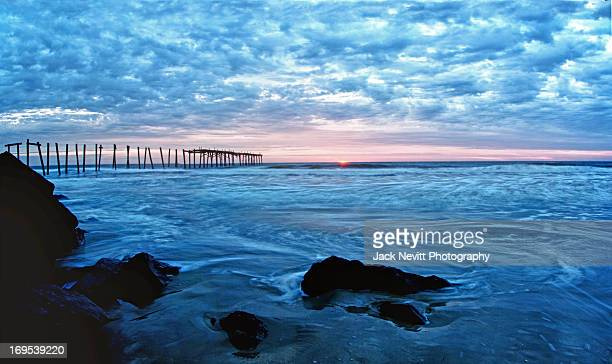 st pier sunrise - ocean city new jersey stock photos and pictures