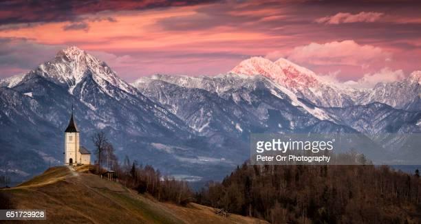 St Primoz Church at Sunset , Julian Alps, Slovenia