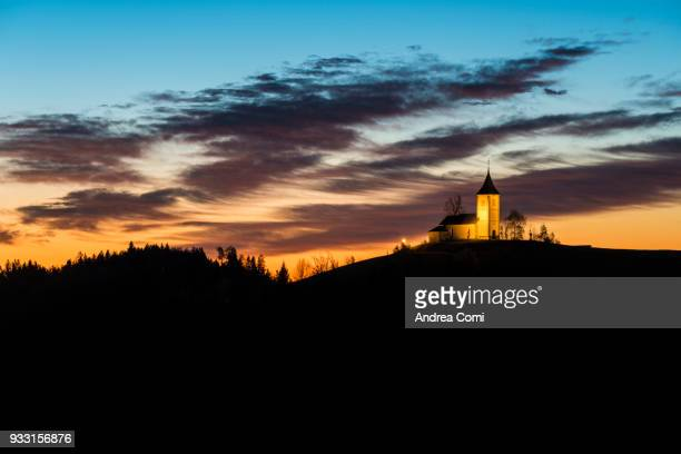 St. Primus and Felician church at dusk. Jamnik, Kranj, Upper Carniola, Slovenia