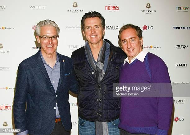 St Regis General Manager Edward Shapard California Lt Governor Gavin Newsom and Rand Luxury President/CEO Bradford Rand attend St Regis Rand Luxury...