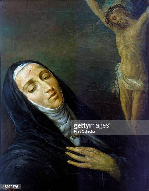 St Rita de Cascia in ecstasy in front of the figure of Christ on the cross 19th century St Rita de Cascia is the Patron Saint of loneliness and...