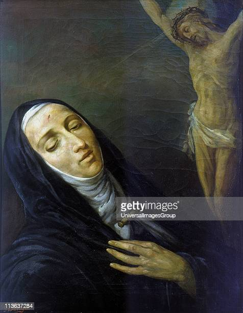 St Rita de Cascia Patron saint of loneliness and spouse abuse Anonymous 19th century painting Church of St Maria del Giglio Venice