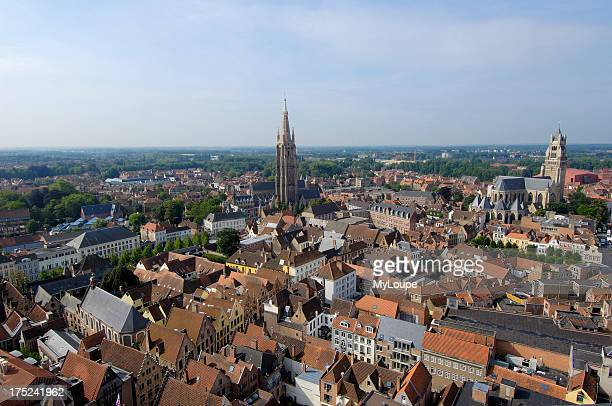 St Saviours Cathedral view from the Belfry Brugge Western Flanders Belgium