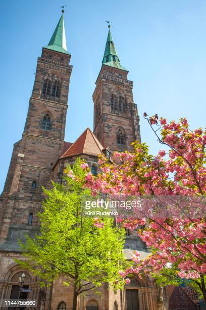 st. sebaldus church (st. sebald, sebalduskirche) on a sunny day in springtime, nuremberg, germany - nuremberg stock photos and pictures
