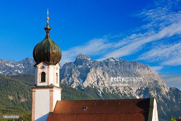 st sebastian church, krun, bavaria, germany - krün stock-fotos und bilder