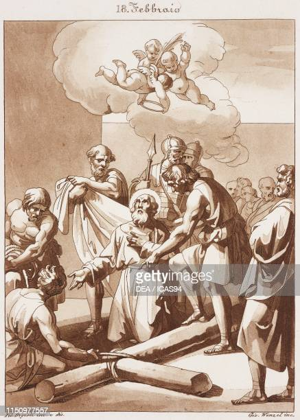 St Simeon Bishop and Martyr Calendar of Saints February 18 engraving from Composition artistiques inventees par le peintre Philippe Bigioli et...
