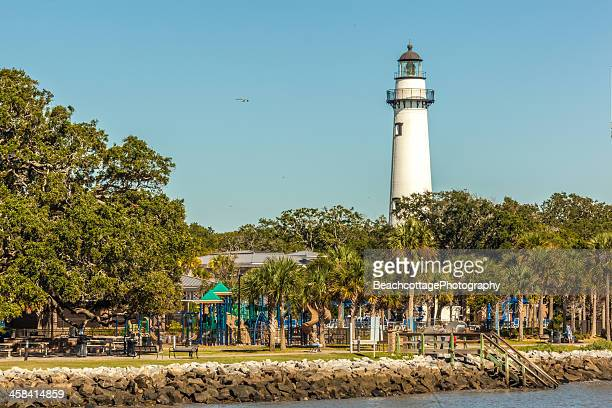 st. simons lighthouse waterfront - saint simon's island stock pictures, royalty-free photos & images
