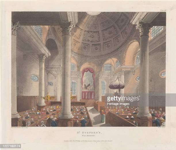St. Stephen's Walbrook, November 1, 1809. Artist Thomas Rowlandson, Augustus Charles Pugin, J. Bluck.