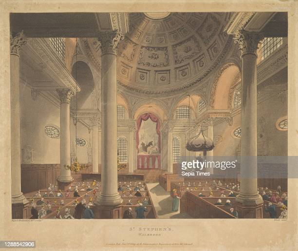 St. Stephen's Walbrook , November 1 Hand-colored etching and aquatint, Plate: 9 x 10 3/4 in. , Prints, Designed and etched by Thomas Rowlandson ,...
