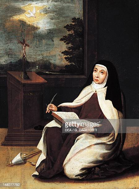St Teresa of Avila writing with inspiration from the Holy Spirit 16th century by an unknown Spanish artist