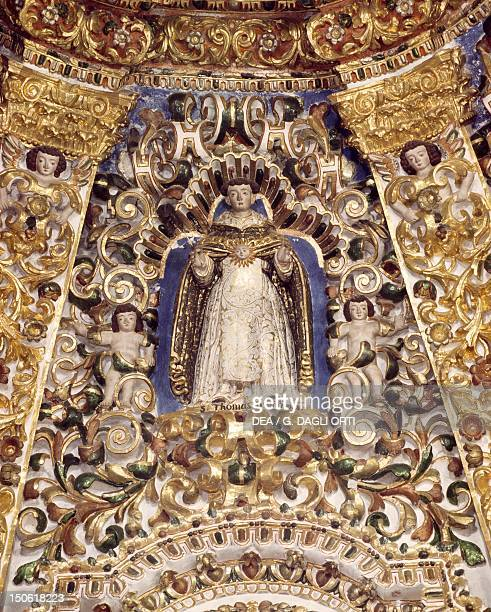 St Thomas Aquinas detail from the dome of Pentecost Church of Ocotlan Mexico