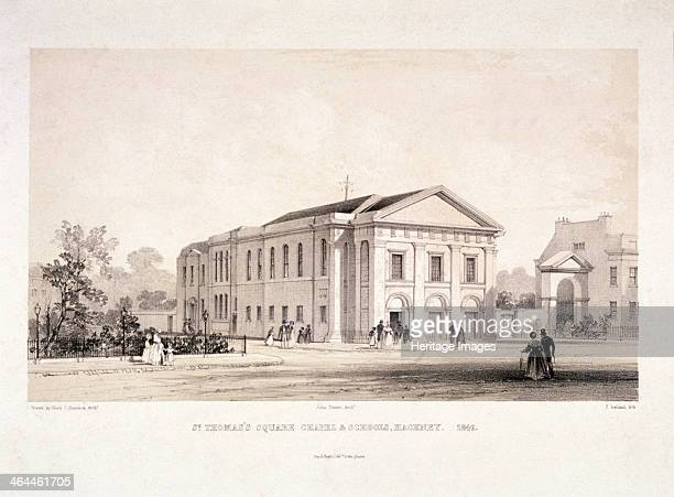 St Thomas Square chapel and schools Hackney London 1841 with figures