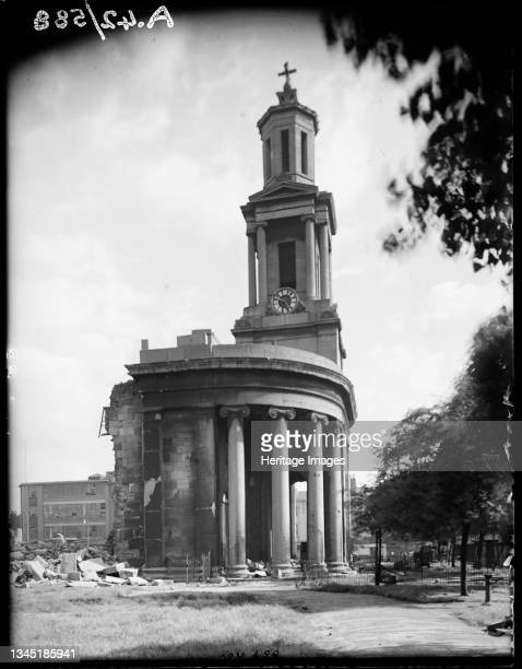 St Thomas's Church, Bath Row, Lee Bank, Birmingham, 1941. The tower and portico of St Thomas's Church viewed from the north showing bomb damage. In...