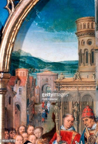'St Ursula Shrine Arrival in Rome' Detail 1489 The Reliquary of St Ursula Memling Museum SintJanshospitaal Bruges