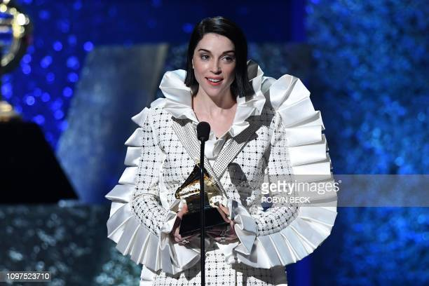 St Vincent accepts the award for Best Rock Song with Masseduction during the 61st Annual Grammy Awards pretelecast show on February 10 in Los Angeles