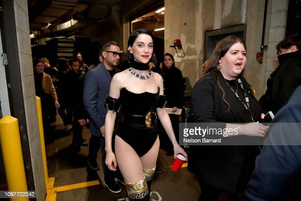 St Vincent backstage during the 61st Annual GRAMMY Awards at Staples Center on February 10 2019 in Los Angeles California