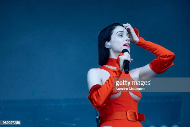 St Vincent performs during day 2 of 2018 Boston Calling Music Festival at Harvard Athletic Complex on May 26 2018 in Boston Massachusetts