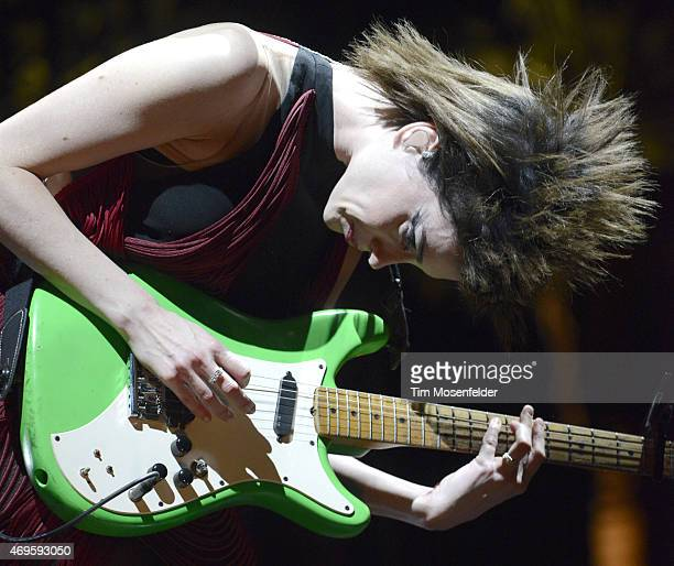St Vincent performs during the 2015 Coachella Valley Music And Arts Festival at The Empire Polo Club on April 12 2015 in Indio California