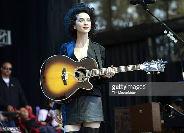 St Vincent performs during the 29th Annual Bridge School Benefit at Shoreline Amphitheatre on October 25 2015 in Mountain View California