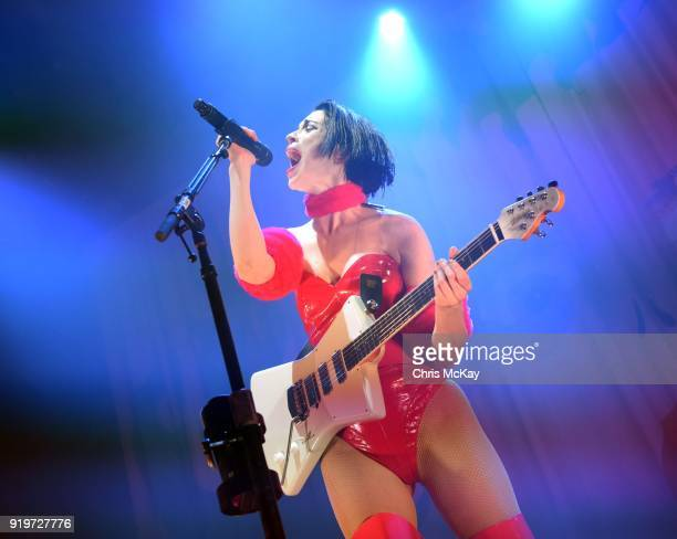 St Vincent performs during the Fear The Future Tour at The Tabernacle on February 17 2018 in Atlanta Georgia