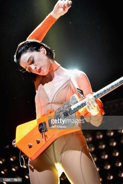 St Vincent performs on Bacardi Sound of Rum Stage during the 2018 Life Is Beautiful Festival on September 22 2018 in Las Vegas Nevada