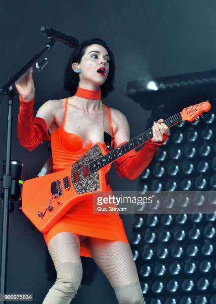 St Vincent performs on stage at All Points East in Victoria Park on June 3 2018 in London England