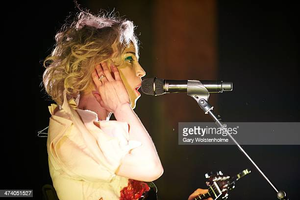 St Vincent performs on stage at Manchester Cathedral on February 21 2014 in Manchester United Kingdom