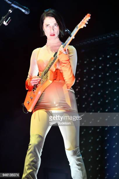St Vincent performs on the Mojave stage during week 1 day 1 of the Coachella Valley Music And Arts Festival on April 13 2018 in Indio California
