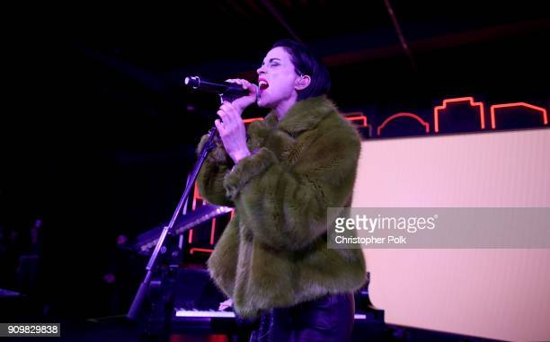 St Vincent performs onstage during Spotify and Mastercard present St Vincent and Maggie Rogers at Mastercard House on January 23 2018 in New York City