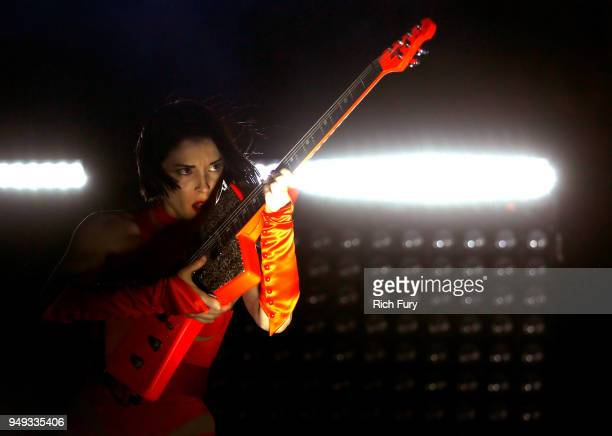 St Vincent performs onstage during the 2018 Coachella Valley Music And Arts Festival at the Empire Polo Field on April 20 2018 in Indio California