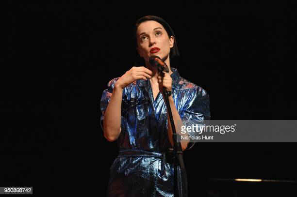 St Vincent performs onstage during The Tory Burch Foundation 2018 Embrace Ambition Summit at Alice Tully Hall on April 24 2018 in New York City
