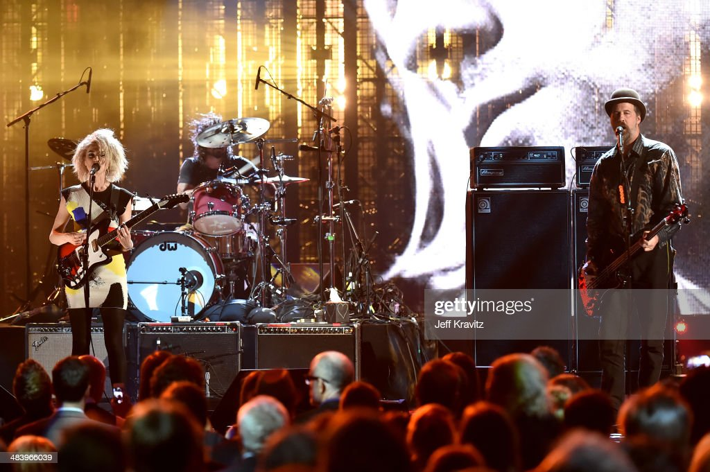 St. Vincent (L) performs with Dave Grohl and Krist Novoselic of Nirvana onstage at the 29th Annual Rock And Roll Hall Of Fame Induction Ceremony at Barclays Center of Brooklyn on April 10, 2014 in New York City.