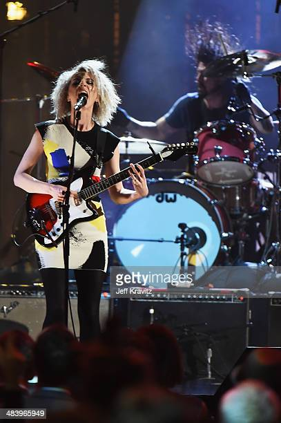 St Vincent performs with Dave Grohl of Nirvana onstage at the 29th Annual Rock And Roll Hall Of Fame Induction Ceremony at Barclays Center of...