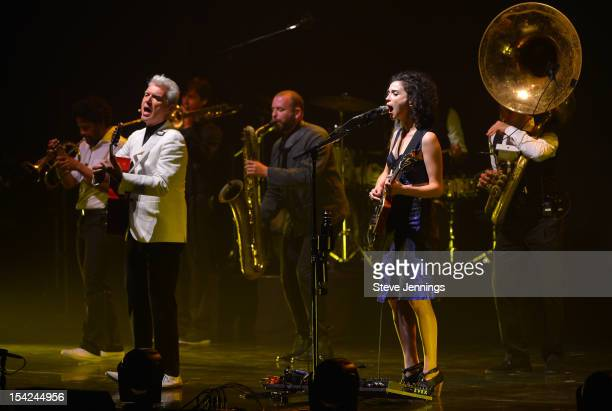 St. Vincent performs with David Byrne at Orpheum Theatre on October 15, 2012 in San Francisco, California.