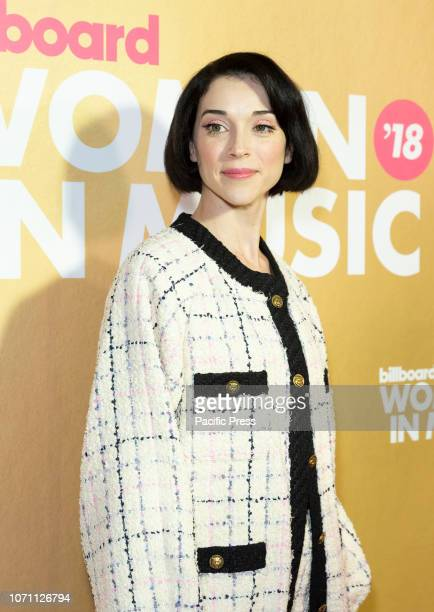 St Vincent wearing dress by Gucci attends Billboard's 13th Annual Women in Music gala at Pier 36