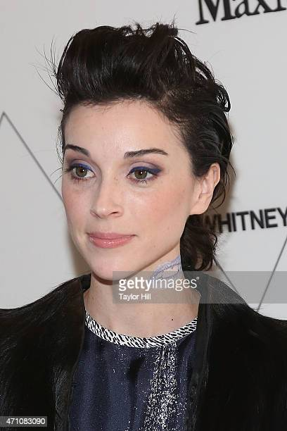 St Vincent wearing Max Mara attends The Whitney Museum of American Art's opening dinner party hosted by MaxMara at the museum's new location on April...