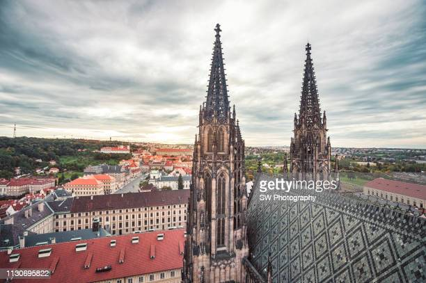 st. virus cathedral and prague cityscape - bubonic plague stock pictures, royalty-free photos & images