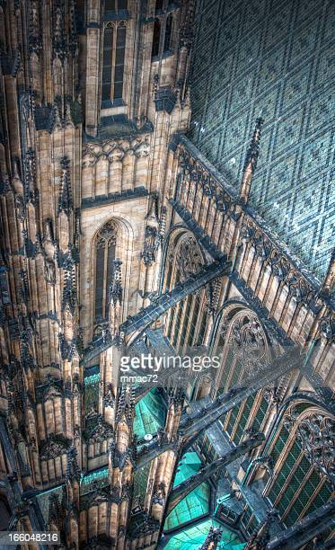 st. vitus cathedral, prague - flying buttress stock photos and pictures