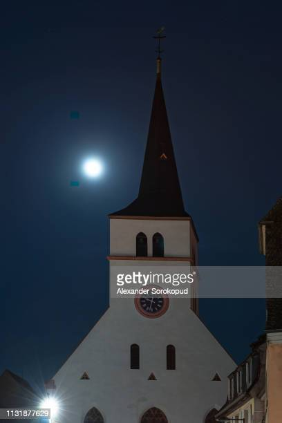 st william's church, strasbourg, night view with full moon, france - william moon stock pictures, royalty-free photos & images