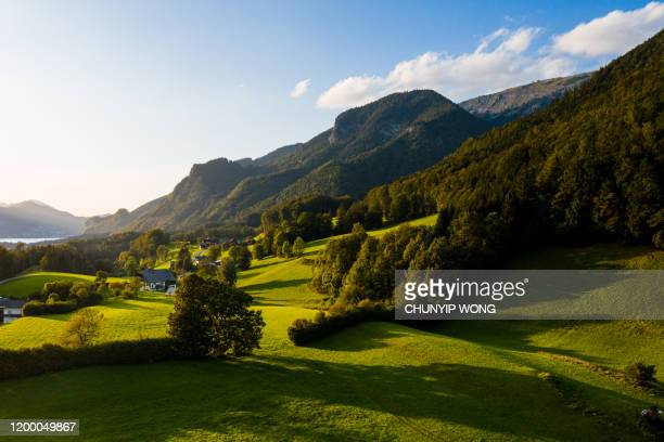 st. wolfgang and the small town st. wolfgang im salzkammergut, upper austria, austria, europe - upper austria stock pictures, royalty-free photos & images