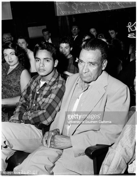 Stabbing trial 21 May 1958 George RodriguezJesus RodriguezAttorney Arthur WebbRubin M RamosAttorney Dean Ric'lLorenzo CastroCaption slip reads...