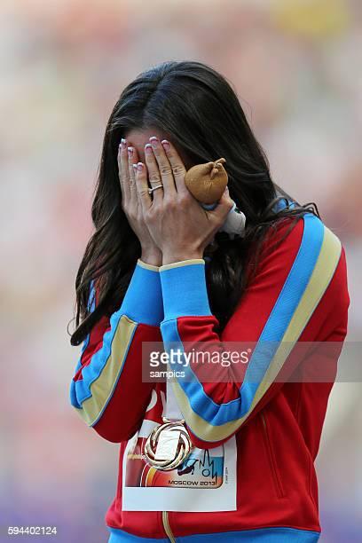 Stabhochsprung Siegerehrung polt vault women World champion gold für Elena Isinbaeva RUS Leichtathletik WM Weltmeisterschaft Moskau 2013 IAAF World...